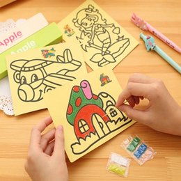 Notebook paper kids online shopping - Kids Diy Color Sand Painting Art Creative Drawing Toys Sand Paper Art Crafts Toys for Children