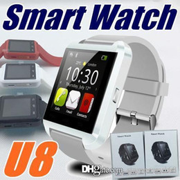 Smart Watch Phone Touch Canada - Bluetooth U8 Smartwatch Wrist Watches Touch Screen For iPhone 7 Samsung S8 Android Phone Sleeping Monitor Smart Watch With Retail Packa A-BS