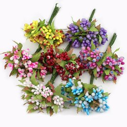 Chinese  10pcs Lot Mini Berry Stamen Artificial flower for Wedding scrapbook Decoration DIY wreaths craft Fake Flowers New arrival manufacturers