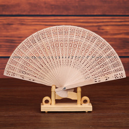 Folk art carving online shopping - Custom logo Chinese Sandalwood Scented fans Wooden Openwork craft fan personal Hand Held Folding Fans for Wedding Birthdays Home Decoration