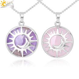 $enCountryForm.capitalKeyWord NZ - CSJA Fashion Sun Moon Necklace Natural Stone Flat Round Beads Pendant Reiki Healing Jewelry for Women Men Lucky Mascot Charms Gift F335 A