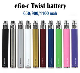 eGo-c Twist Battery Cigarette électronique Batterie à tension variable 3.2-4.8V 650mah 900mah 1100mah Vision Spinner eGo Kit en Solde