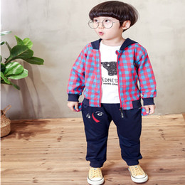 baby boy red plaid shirt 2021 - Autumn Baby Boys Fashion Clothing Sets Children's Cartoon Elephant shirt +Plaid Hooded Jacket + Pants 3 Piece Suit Clothes