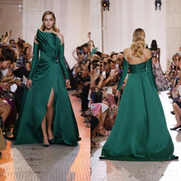 long sleeve red taffeta dress jacket Canada - Elie Saab 2019 Green Split Side Prom Dresses Long Sleeves Off The Shoulder Evening Gowns Sweep Train Formal Pageant Party Dress