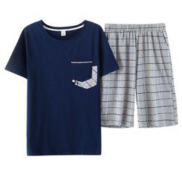 High Quality Summer 100%Coon Men s Short-sleeved Pajamas Set Round Neck Plus  Size M-XXXXL Male Lounge Short Top+Short Pants d3ff2bd9a