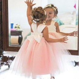 $enCountryForm.capitalKeyWord NZ - Ivory and Pink Flower Girl Dresses for Wedding Princess Tutu Kids Wear For Party 2019 Toddler Gowns