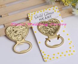 Graduation Card Maker Australia - (20 Pieces lot) Sparkle party favors of Gold Glitter Heart Bottle Opener Wedding Favors for Bridal shower decorations favors