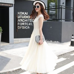 goddess dresses white Australia - 2019 summer new Korean version of the self-cultivation sleeveless chiffon solid color large swing dress goddess dress