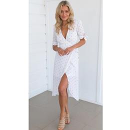 Down Shows Australia - 2019 Summer Evening Party Dress Women Ladies Fashion V-Neck Sashes Dot High Waist Knee-Length Dress Slim Show Thin Clothes