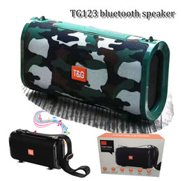 Wholesale TG123 portable bluetooth speaker W loudspeaker with mah battery handfree with build in mic suport Radio TF card with strap