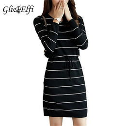 sexy ladies sweaters Canada - GliElfi Korean Women Bows Bandage Striped Sexy Knitting Sweater Dress 2018 Autumn Winter Spring Loose Lady Elegant Tight Dresses
