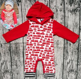 Wholesale XMAS Christmas Baby Boys Girls RED hoodies Romper with hat Cartoon car Hooded Toddler Long Sleeve Jumpsuit Fashion Infant elk Onesie T