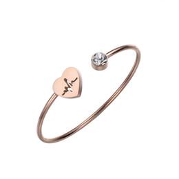$enCountryForm.capitalKeyWord UK - Stainless Steel Heart Beat Cuff Bracelet Silver Rose Gold Crystal Bracelet Bangle for Women Girl Love Jewelry Valentine Day Gift