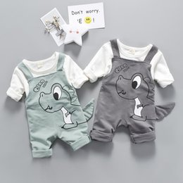 $enCountryForm.capitalKeyWord Australia - Unisex Baby Clothing Sets Spring Children Clothes Set Cartoon Tops+ Suspender Pants Suit Boys Girls Casual Cotton Shirt E239