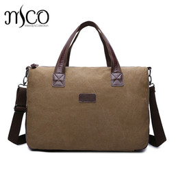 $enCountryForm.capitalKeyWord NZ - Canvas Leather Men Travel Bags Carry on Luggage Bags Men Duffel Bags Travel Tote Large Weekend Overnight Bag