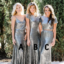 Red Mixed Bridesmaid Dresses NZ - Silver Sequins Bridesmaid Dresses 2018 Modest Country Style Two Pieces Mix and Match Bridesmaids Dress Custom Made Wedding Guest Party Gowns
