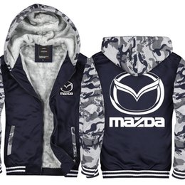 Camouflage Cars NZ - Camouflage Mazda Car Logo Hoodie Men and Women Winter Thicken fleece Cotton Zipper Casual Coat Jacket Super Warm Sweatshirt USA EU Size