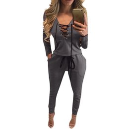 $enCountryForm.capitalKeyWord NZ - Autumn Women Overalls For Women Brand Bandage Jumper Rompers Jumpsuit Pants Full Sleeve Winter Playsuit Lace Up Track LJ5801U
