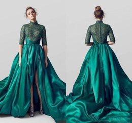 Chinese  Emerald Green Satin Evening Dresses High Neck Half Sleeves Lace Formal Prom Party Gowns A Line Custom Special Occasion Wear Front Split manufacturers