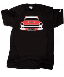 Chinese  CUSTOM HTees T-shirt, FORD CORTINA MK1 Lotus GT Consul, Pick car colour & plate manufacturers