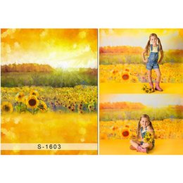 backdrop computer painted scenic background Canada - Oil Painting Golden Sunflowers Backdrop Photography Sparkling Sunshine Newborn Baby Kids Children Girls Backgrounds for Photo Studio