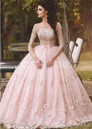 Coral gold quinCeanera dresses online shopping - Vestidos Blush Pink Lace Ball Gown Quinceanera Dress Long Sleeves Boat Neck D Flora Princess Bridal Gowns Arabic Dubai BA5448