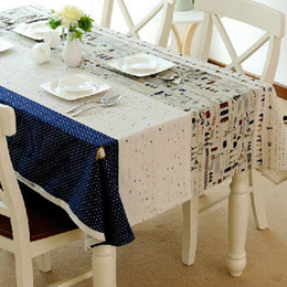 Square Table Cloths NZ - Toalhas Linen Table Cloth Covers Mediterranean style Towel Print Dustproof Rectangular Dinning Tablecloths Free Shipping ZB-6