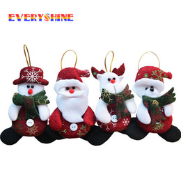 Christmas Decors Suppliers Australia - 2019 Merry Christmas 4pcs lot Red Santa Pendant Christmas Tree Hanging Ornaments Crafts for Home Decor Supplier SD206 Y18102609
