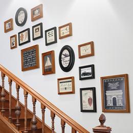 Stairs Wall Hanging Wood Photo Frame Set Picture Frames Set For Home Stair  Hanging Wall Round Rectangular 16pcs Set Multi Function Vintage