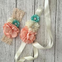 $enCountryForm.capitalKeyWord NZ - Bridal Ivorie Dusky Chiffon Flowers Sash and Headband Set With Rhinestones Lace Headband For Girls Hair Belly Dress Accessories