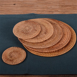 Pads for coaster mats online shopping - Household Cup Mat Mould Proof Braided Teapot Bowl Pad Round Natural Rattan Coasters For Luxury Home Decor pw6 YB