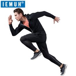 purple yellow tracksuit 2019 - Running Set 2018 Dry Fit Compression Tracksuit Fitness Tight T-shirt Legging Men's Sportswear Demix Black Gym Sport