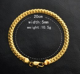$enCountryForm.capitalKeyWord NZ - 18K REAL GOLD plate BRACELET 10.5 g 20cm 5mm FIGARO CHAIN Containing 925 Sterling Silver hand chain