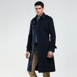 Wholesale single breasted pea coat men resale online - new Brand Single Breasted Woolen Coat Mens Tailor Made Wool Long Jacket England Business Woolen Coat Custom Pea XL