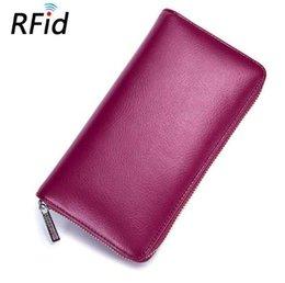 Minimalista Couro Real Divisão de Couro RFID Bloqueio Anti Roubo Carteira Dos Homens / Mulheres Grande Longo Passaporte Carteiras de Viagem Cartão de bolsa venda por atacado