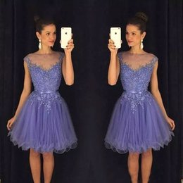 China 2018 New Lavender Sheer Homecoming Dresses Cap Sleeves Lace Appliques Beaded Short Prom Dresses with Belt Backless Cocktail Gowns BA9172 cheap lilac belt suppliers