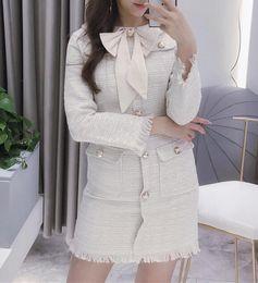 long sleeve dress vintage patchwork 2019 - 2018 Autumn new design women's o-neck bow patchwork cute long sleeve tweed woolen single breasted tassel medium lon
