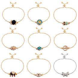 Hamsa Hand silver bracelets online shopping - Bracelets for Women crystal Owl Hamsa Hand of Fatima Elephant Tree Butterfly Rose Flower K gold Plated Bracelets Jewelry for women