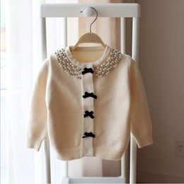 Girls Cardigans Pearls NZ - girl autumn sweater 2018 girls fashion new fall pearl collar bow knitted cardigan girl top&outwear kids clothes 1-5Y