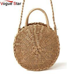 PaPer shoulders online shopping - Handmade Rattan Woven Round Handbag Vintage Retro Straw Rope Knitted Messenger Bag Lady Fresh Paper Bag Summer Beach Tote L36