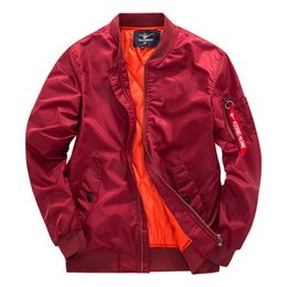 Barato Jaqueta Jaqueta Homem Homens-Brand Bomber Jacket Air Force One MA01 Pilot Coat Hommes Outono Spring Jackets Outwear Plus Size Vestuário 2018 4XL Red Cotton Padded