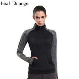 Discount stand cloth - HEAL ORANGE Women Running Jacket Long-sleeved Stand Collar Sport Jackets Sweatshirt Cloth Fitness Zipper Outerwear Outdo