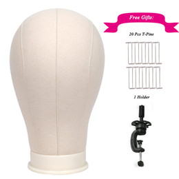 Style wig men online shopping - 1 pc quot quot White Canvas Block Head for Wigs Display Styling Making Mannequin Manikin Wig Stand Head with Free Holder and T Pins
