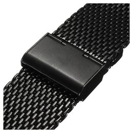 Discount shark mesh - YCYS-New 20mm Watch Strap Shark Mesh Band Stainless Double Clasp Steel Bracelet Black