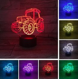 $enCountryForm.capitalKeyWord NZ - New Cartoon Tractors 3d Lamp 7 Color Led Night Lamps For Kids Touch Led Usb Table Lampara Lampe Baby Sleeping Child Toys Gifts Drop Shipping