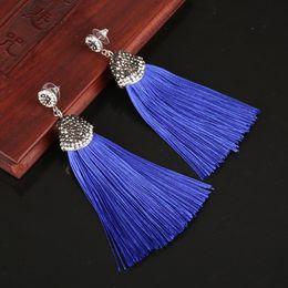 KEJIALAI 14 Color Vintage Bohemian Crystal Long Silk Tassel Earring Women Rhinestone  Charm Stainless Steel Dangle Drop Earrings 8362556ecf3c