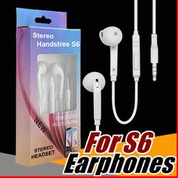 Vente en gros S6 S7 Écouteurs Écouteurs J5 Écouteurs Écouteurs iPhone 6 6 s Casque pour Jack Dans L'oreille filaire Avec Micro Volume Contrôle 3.5mm Emballage De Détail E-EJ
