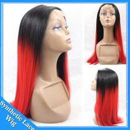 $enCountryForm.capitalKeyWord NZ - Straight Hair Ombre Lace Front Wig Black To Red Silky Straight Free Part Heat Resistant Synthetic Lace Front Wig For Black Women