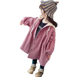 orange baby girl clothes UK - Children's clothing wholesale girl autumn spring new Korean baby girls jacket children coat red woollen overcoat girls