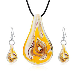 $enCountryForm.capitalKeyWord Australia - Fansinating Waterdrop Murano Glass Statement Necklaces & Earrings Set Women Choker Wedding Jewelry Sets Mothers Day Gifts Wedding Decoration